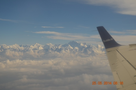 First view of the snow capped mountains