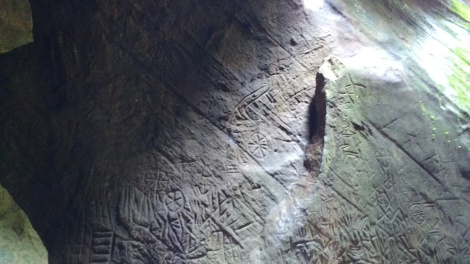 Stone age carvings inside the caves