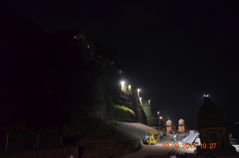 The Ahilya Fort at night